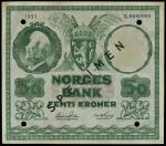 x Norges Bank, specimen 50 kr, 1951, serial number x 0000000, green, coat of arms top centre backed