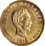 CUBA. 20 Pesos, 1915. Philadelphia Mint. NGC AU-58.