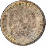 URUGUAY. 50 Centesimos, 1877-A. PCGS SP-64+ Secure Holder.