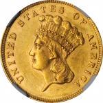 1862 Three-Dollar Gold Piece. MS-61 (NGC).