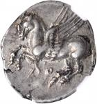 ITALY. Bruttium. Lokri Epizephryioi. AR Stater (8.60 gms), ca. 350-274 B.C. NGC AU, Strike: 4/5 Surf
