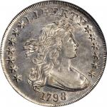 1798 Draped Bust Silver Dollar. Heraldic Eagle. BB-115, B-31a. Rarity-5. Pointed 9, Close Date. AU-5