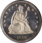 1859 Liberty Seated Quarter. Type II Reverse. Proof-66 Cameo (PCGS). CAC.