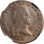 1720-S Demi Sol au buste enfantin. John Law Issue. Reims Mint. Gadoury-273. AU-58 BN (NGC).