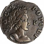 1760 Voce Populi Halfpenny. Nelson-12, W-13950. Rarity-3. P in Front of Face. VF-35 BN (NGC).