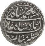 MUGHAL: Muhammad Shah, 1719-1748, AR nazarana rupee 4011。39g41, Peshawar, AH1136 year 6, KM-436。50,