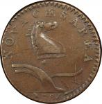 1786 New Jersey copper. Maris 20-N. Rarity-4. Wide Shield. EF-40 (PCGS).