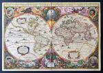1641年早期世界地图複製品,尺寸为33x43cm,顔色仍然鲜艳。
