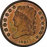 1831 Classic Head Half Cent. Second Restrike, Reverse of 1840. Breen 1-C. Rarity-7+. Proof-66 BN (PC