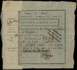 An obligation of 2000 francs, Coupea de Boix, French 1807, serial number 2, for the Department de La