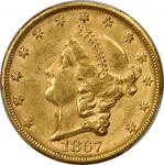 1867-S Liberty Head Double Eagle. AU-58 (PCGS).