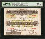 CEYLON. Government of Ceylon. 5 Rupees, 1913-19. P-11b. PMG Very Fine 25.