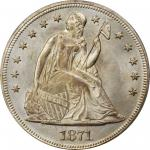 1871 Liberty Seated Silver Dollar. OC-12, FS-301. Rarity-3+. Top 30 Variety. Misplaced Date. MS-65 (