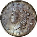 1819 Matron Head Cent. Small Date. MS-62 BN (PCGS). CAC.