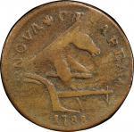 1788 New Jersey copper. Maris 77-dd (DS3) i.e. 78-dd. Rarity-2. Running Fox. Large Planchet. Fine-12