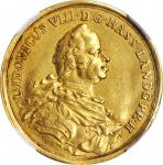 GERMANY. Hesse-Darmstadt. 2 Ducats, 1754. Ludwig VIII. NGC VF Details--Bent.