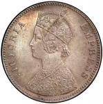 BRITISH INDIA: Victoria, Empress, 1876-1901, AR rupee, 1885-C, KM-492, S&W-6.80, Prid-124, a superb