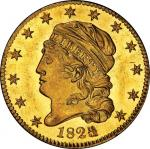 1825/4 Capped Head Left Half Eagle. Bass Dannreuther-2. Rarity-8. Mint State-64 (PCGS).