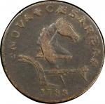 1788 New Jersey copper. Maris 77-dd (DS2) i.e. 77 1/2-dd. Rarity-6+. Running Fox. VF Detail, Scratch