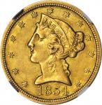 1854-O Liberty Head Half Eagle. Winter-1. AU-55 (NGC).