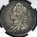 GREAT BRITAIN George II ジョージ2世(1727~60) Crown 1751 NGC-AU DetailsPolished 磨き -EF