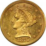 1870-S Liberty Head Quarter Eagle. MS-64 (PCGS). CAC.