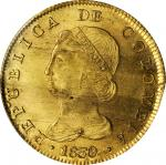 COLOMBIA. 8 Escudos, 1830-RS. Bogota Mint. PCGS Genuine--Cleaned, Unc Details Gold Shield.