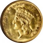 1874 Three-Dollar Gold Piece. MS-63 (NGC).
