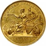 1847 American Institute Award Medal. By Robert Lovett. Harkness Ny-70. Gold. About Uncirculated.