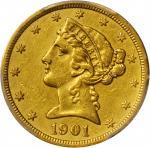 美国1901-S年5美元金币。