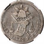MEXICO. 25 Centavos, 1875-Ho R. Hermosillo Mint. NGC VF-20.