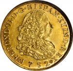 PERU. 8 Escudos, 1752-LM J. Lima Mint. Ferdinand VI. NGC MS-62.
