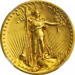 MCMVII (1907) Saint-Gaudens Double Eagle. High Relief. Flat Rim. Unc Details--Obverse Cleaned (NGC).