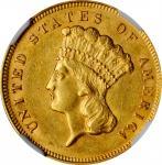 1878 Three-Dollar Gold Piece. AU-58 (NGC).
