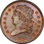 1831 Classic Head Half Cent. First Restrike, Reverse of 1836. Breen 1-B. Rarity-5+. Proof-66 RB (PCG