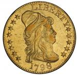 1798 Capped Bust Right Half Eagle. Bass Dannreuther-3. Rarity-5. Large 8, 14 Stars Reverse, Wide Dat