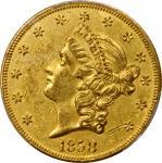 1858-O Liberty Head Double Eagle. Winter-2. AU-55 (PCGS).