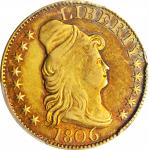 1806 Capped Bust Right Half Eagle. BD-5. Rarity-7. Pointed 6, Stars 8x5. EF-45 (PCGS).