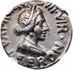 AUGUSTUS, 27 B.C.- A.D. 14. AR Denarius (4.13 gms), Rome Mint, 18 B.C. NGC Ch EF, Strike: 4/5 Surfac