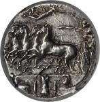 SICILY. Syracuse. Dionysios I, 406-367 B.C. AR Decadrachm (43.32 gms), ca. 405-390 B.C. NGC AU, Stri