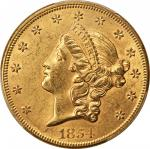 1854 Liberty Head Double Eagle. Small Date. AU-58+ (PCGS). CAC.