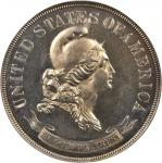 1869 Pattern Half Dollar. Judd-742, Pollock-823. Rarity-5. Silver. Reeded Edge. Proof-63 (NGC).