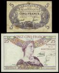Martinique, Banque de la Martinique, lot of 2 notes, 5 francs, no date (1934-1945) and also 25 franc