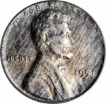 1951-D Lincoln Cent--Struck on a Silver Dime Planchet--Genuine--Environmental Damage (PCGS).