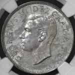 """CANADA カナダ Dollar 1949 NGC-UNC Details """"Stained"""" 薄锖 AU"""