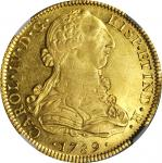 MEXICO. 8 Escudos, 1789-MoFM. Charles IV (1788-1808). NGC MS-61.