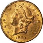 1880 Liberty Head Double Eagle. MS-60 (PCGS).