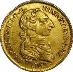 COLOMBIA. 1762-JV 2 Escudos. Santa Fe de Nuevo Reino (Bogotá) mint. Carlos III (1759-1788). Restrepo