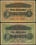 East African Currency Board, 5 shillings, 1939, 10 shillings, 1940, prefixes N/10, N/9, (Pick 28a, 2