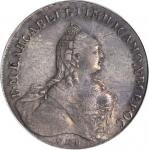 RUSSIA. Ruble, 1759-CNB RI. Elizabeth I (1741-61). PCGS EF-45 Secure Holder.